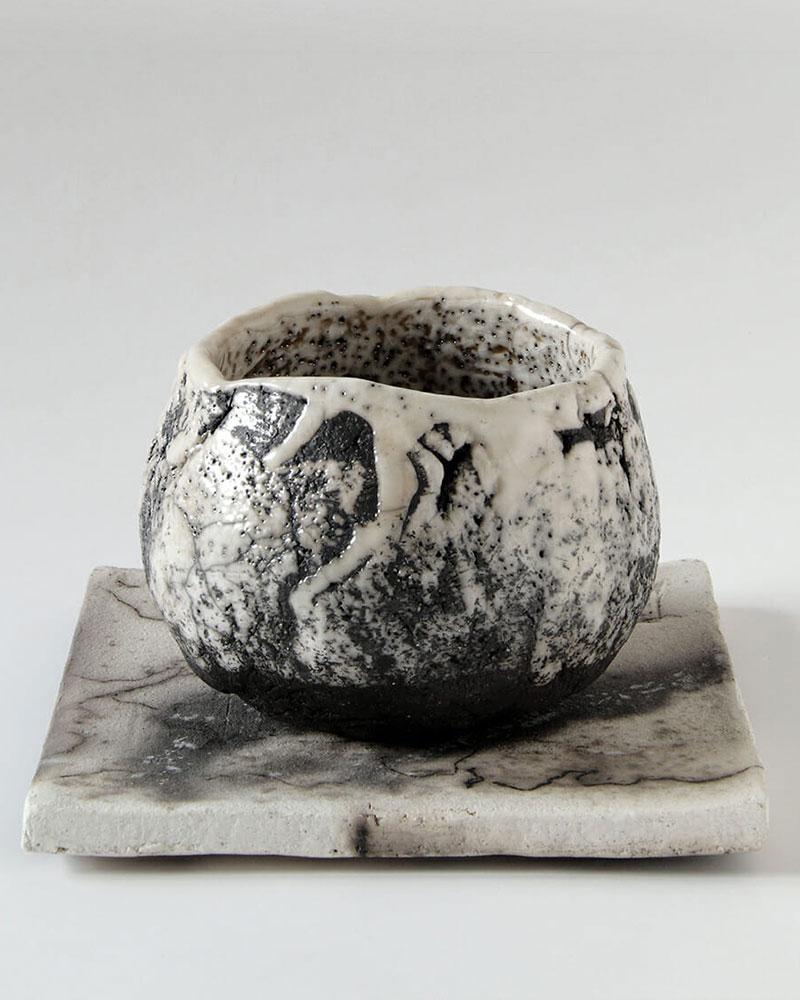 Bol avec plaque de Nadja La Ganza - Céramiste Raku