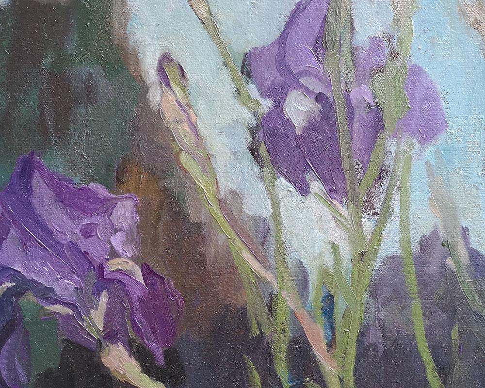 Le choeur des Iris - Peinture à l'huile de Carole Melmoux