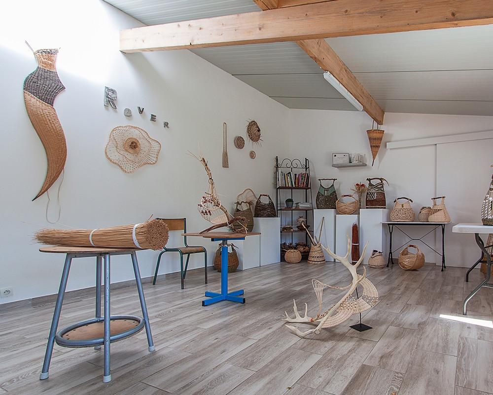 Intérieur de l'atelier de Pascale Germain - Saulée Vannerie