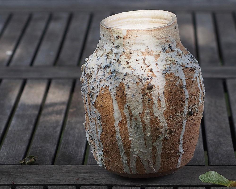 """Vase """"Brut"""" en grès tourné d'Olivier Fisbach"""