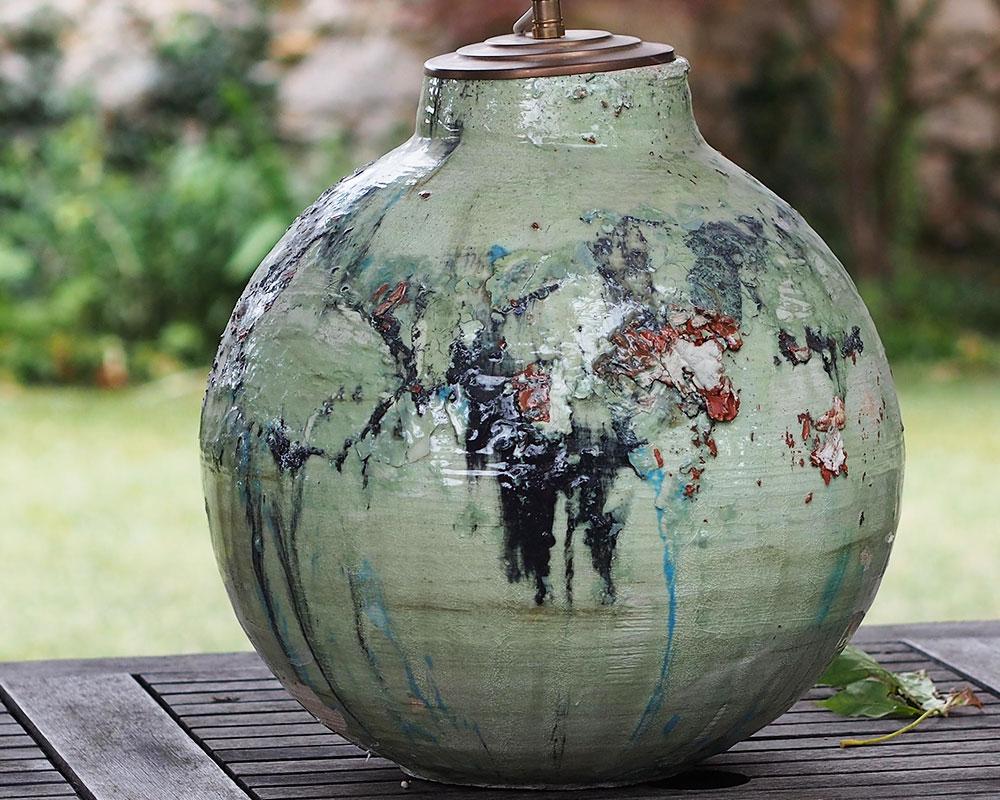 """Vase émaillée vert """"Boule"""" de l'Atelier du Curieux"""