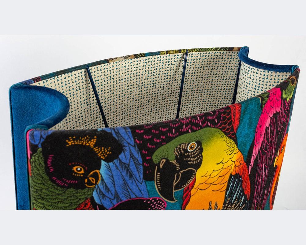 WQT- Abat-jour tissu velours imprimé et Oiseau brodé