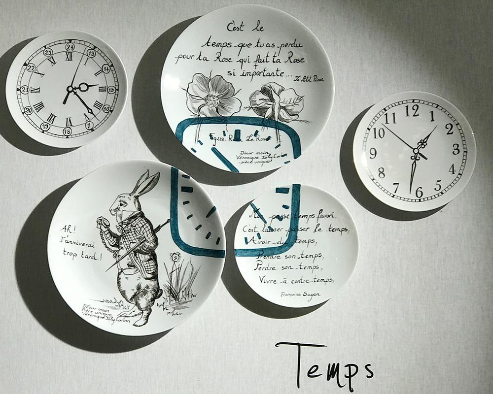 """Composition murale de 5 assiettes """"Histoire au mur - Temps"""""""