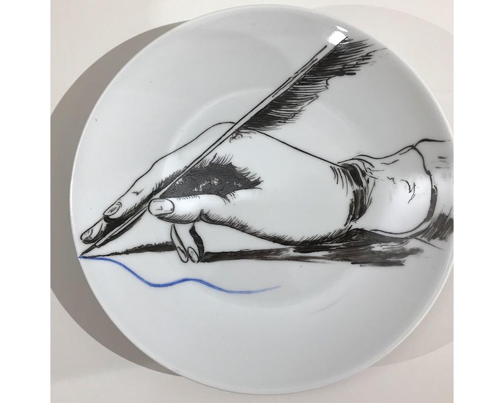"""Composition murale """"Histoire sur socle - Plume"""" - Plume de l'écrivain"""