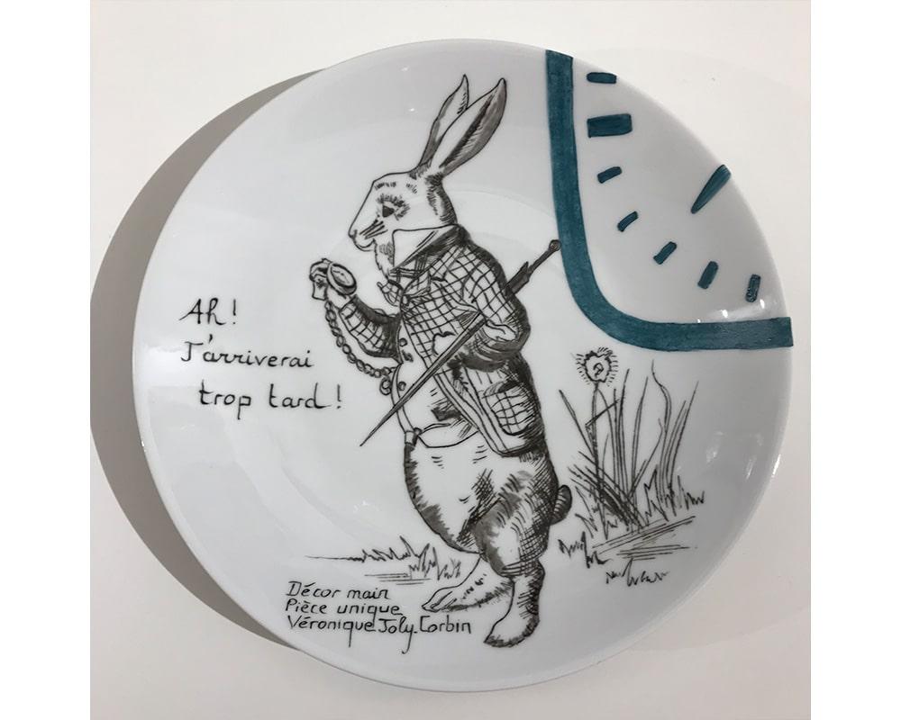 """Composition murale """"Histoire au mur - Temps"""" - Lapin d'Alice au pays des merveilles"""