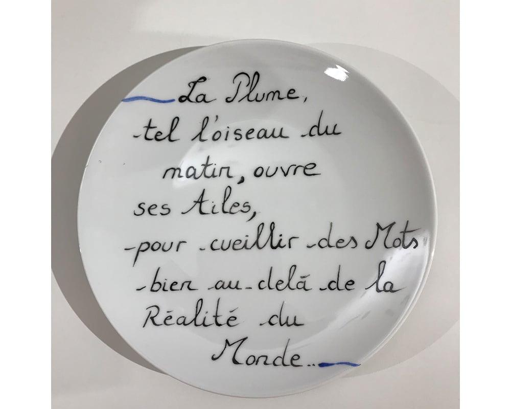 """Composition murale """"Histoire sur socle - Plume"""" - Poésie et légèreté de la plume qui vole"""