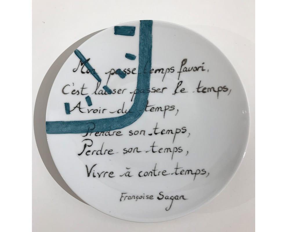 """Composition murale """"Histoire au mur - Temps"""" - Texte de Françoise Sagan"""