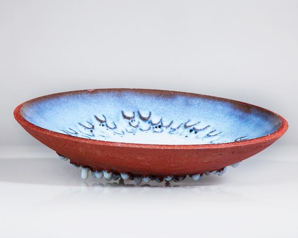 """Vasque rouge et bleue """"Janvier"""" avec ces gouttes de verrémail par By Manet"""