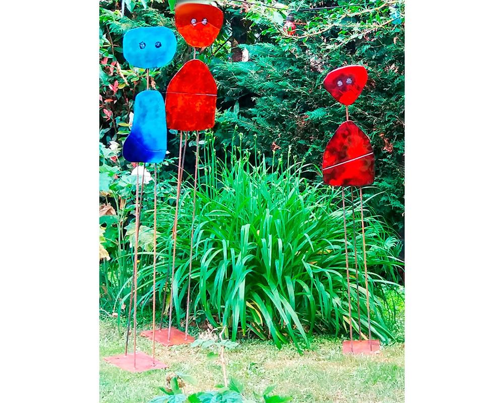 """3 sculptures """"Miroir d'Âme"""" - Plaques de cuivre émaillées rouges et bleues"""