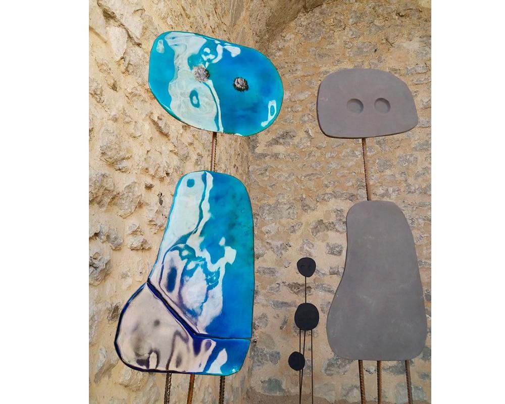 """Duo de sculptures """"Miroir d'Âme"""" - Plaques de cuivre émaillées rouges et bleues"""