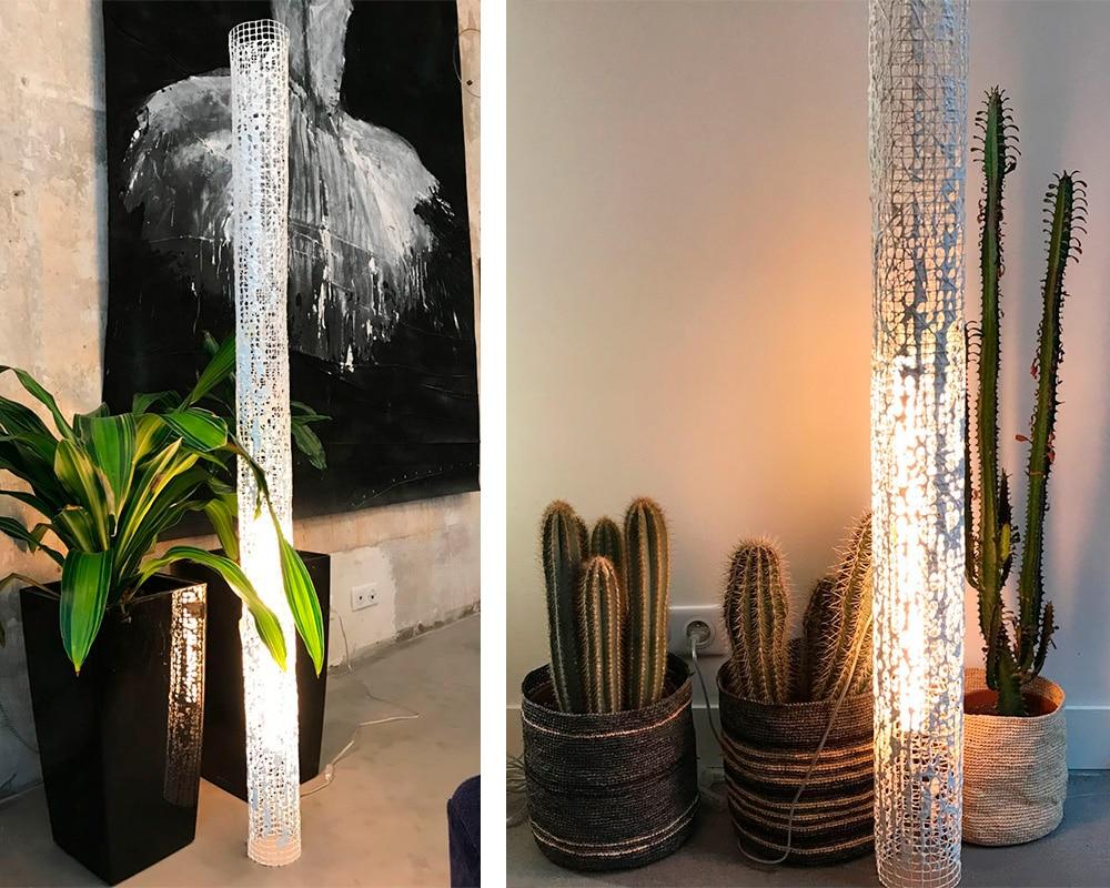 "Grand Luminaire ""Bambou"" en dentelle de neptune de Natalie Sanzache"