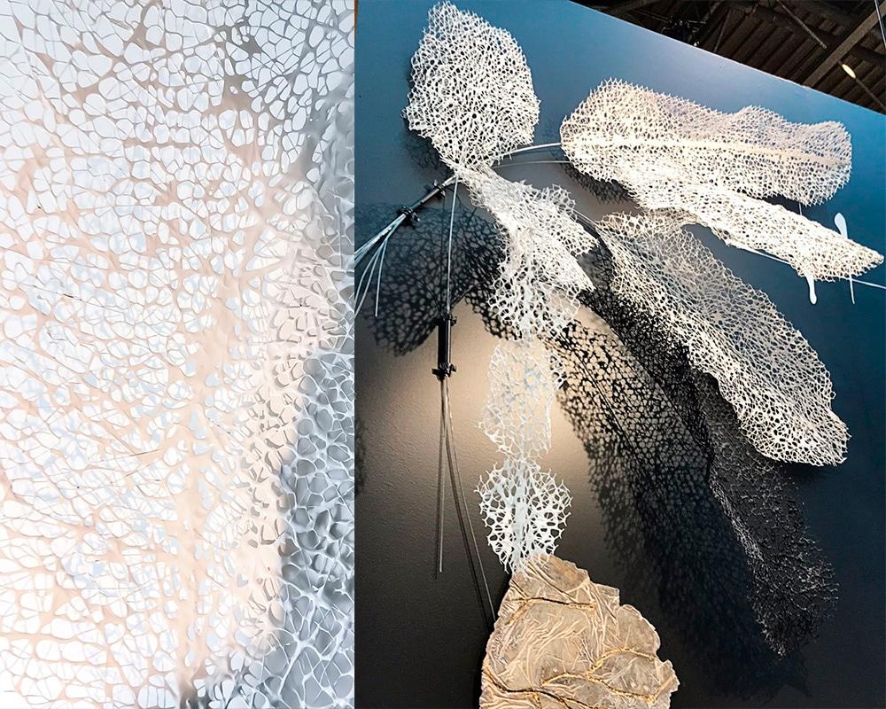 """Composition murale """"Plume"""" en dentelle de neptune de Natalie Sanzache"""