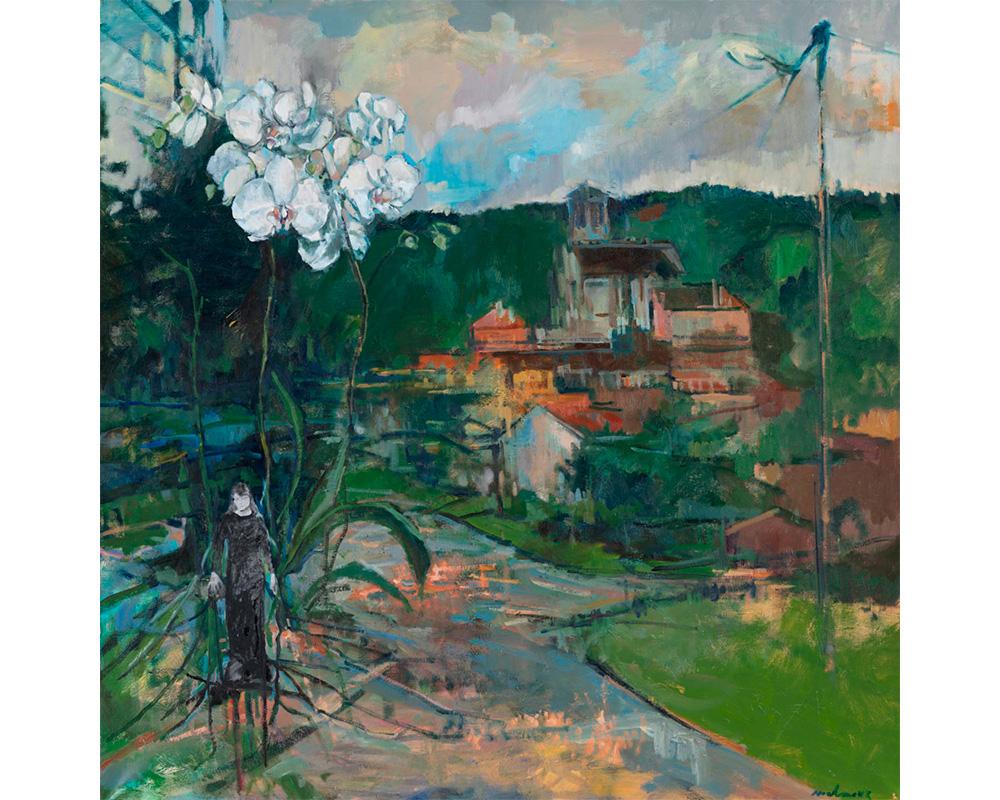 """Huile sur toile et Collage """"Le Village de Renoir, Essoyes"""" - Carole Melmoux Peintre"""